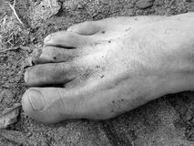Dirty Foot. A dirty foot on the beach Royalty Free Stock Image