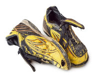 Dirty football shoes Royalty Free Stock Image