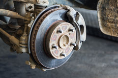 Dirty front disk brake on car,close up Stock Images