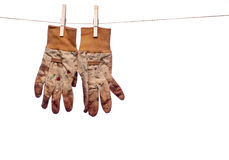 Dirty garden work gloves hanging on a clothesline. A horizontal image of dirty garden work gloves hanging on a clothes line royalty free stock photo