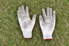Gardening gloves on the grass Stock Photos