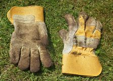 Dirty gardening gloves Royalty Free Stock Images
