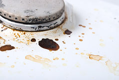 Dirty gas stove Stock Photo