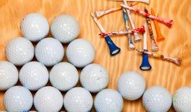 Dirty golf balls and tees Royalty Free Stock Image