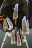Dirty golf clubs. In bag. Shallow dof Royalty Free Stock Photography