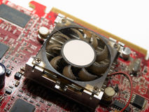 Dirty graphic card. Graphic card fan covered with dust Royalty Free Stock Photo