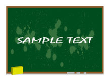 Dirty green blackboard with wooden frame. Chalktray and eraser isolated on white -  illustration Stock Image
