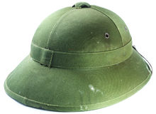 Dirty Green Japanese Soldier Helmet isolated on white Stock Photos