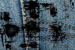 Dirty grunge Closeup of obsolete blue jeans pocket Denim texture, macro background for web site or mobile devices royalty free stock photo