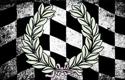 Winner. A dirty grunge fx chequered race flag with a winner wreath Stock Image