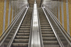 Dirty and grungy escalator from Brussels subway Stock Images