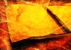 Dirty, grungy notebook. An illustration of an old crumpled notebook in an orange background with spider webs attached stock image