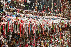 Dirty Gum Wall. The landmark bubble gum wall near the Pike Place Market in Seattle is a dirty, unhygienic wall filled with half-chewed bubble gum that is Royalty Free Stock Photography