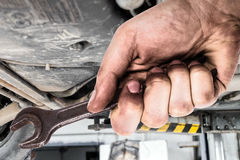 Dirty hand holding wrench.Car servis. Stock Photo