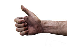 Dirty hand of a man with thumbs up isolated on white. Close Stock Images
