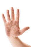 Dirty hand showing stop sign Royalty Free Stock Photo