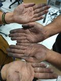 Dirty hand of of workers & x28;copyright free& x29;. Very dirty hand of workers afert hard work stock photos