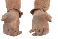 Dirty hands. Poor fellow in old sweater Royalty Free Stock Images