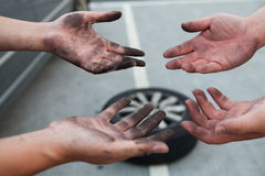 Dirty Hands. After changing tire Royalty Free Stock Photo