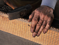 Dirty hands of blacksmith Stock Image