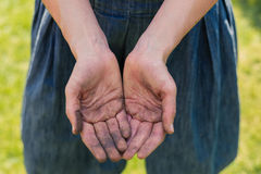 Dirty hands covered in dirt Royalty Free Stock Photo