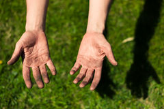 Dirty hands covered in dirt Royalty Free Stock Photography