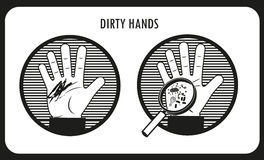 Dirty Hands. Hand Hygiene. Black & White Flat Vector Icons. Dirty Hands. Hand Hygiene. Black & White Flat Vector Icons In The Circle. Bacteria And Infection Royalty Free Stock Images