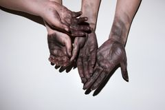 Dirty hands hard woman job emancipation feminism. Two pairs of dirty woman hands on white background. Hardwork, emancipation and feminism concept royalty free stock photography