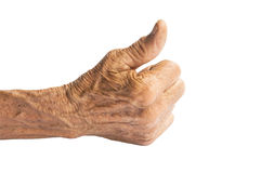 Dirty hands of the old man. On a white background Royalty Free Stock Images