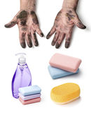 Dirty hands and soap Stock Image