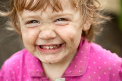 Dirty happy child royalty free stock image