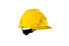 Dirty hardhat isolated on white Royalty Free Stock Photo