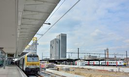 Dirty heavy duty locomotives in the station of Ghent Royalty Free Stock Photo