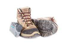 Dirty hiking boots Stock Image