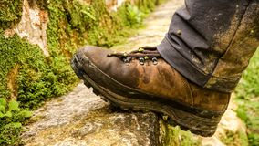 Dirty Hiking boots in Tikal, Guatemala. stock photography