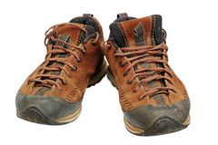 Dirty hiking shoes Royalty Free Stock Image