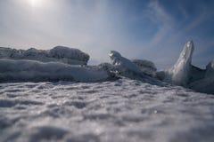 Dirty ice rock. Stock Photos