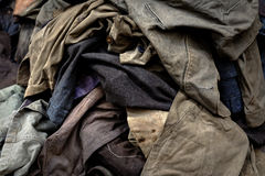 Dirty industrial clothes in a pile Royalty Free Stock Images