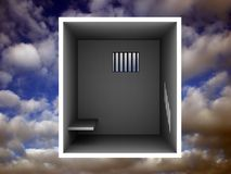 Dirty jail cell. Jail cell over a clouded sky Royalty Free Stock Photo