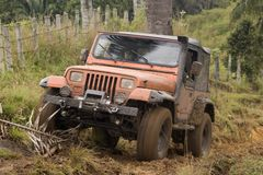 Dirty jeep on competition Royalty Free Stock Image