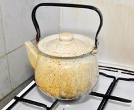 Dirty kettle Stock Images