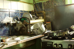 Dirty kitchen. Old dirty kitchen cooker stove Royalty Free Stock Image