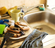 Dirty kitchen pile of filthy dishes infested with roaches, lifestyle concept. Close up stock photo