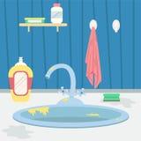 Dirty kitchen sink. Housework. Flat cartoon style vector illustration.  royalty free illustration