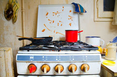 Dirty kitchen stove. Incredible dirty gas cooker stove Royalty Free Stock Photos