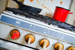 Dirty kitchen stove. Incredible dirty gas cooker stove Royalty Free Stock Image