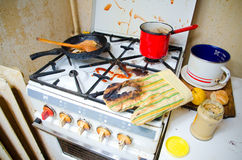 Dirty kitchen stove royalty free stock images