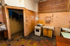 Dirty kitchen is in the temporary apartment for living existence refugees Royalty Free Stock Image