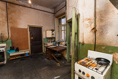 Dirty kitchen is in the temporary apartment for living refugees Royalty Free Stock Image