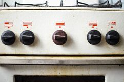 Dirty kitchen. Unsanitary conditions. Old gas stove in emergen. Dirty kitchen. Unsanitary conditions. Old gas stove Royalty Free Stock Photos